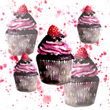Beautiful tender bright graphic delicious tasty chocolate yummy summer dessert cupcakes with red raspberry on red spray. Watercolor and pen hand illustration Stock Photo