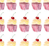 Beautiful tender lovely cute delicious tasty yummy summer dessert two cupcakes with red cherry and beige cream Royalty Free Stock Photos