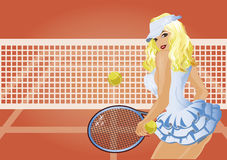 Beautiful tennis player on the tennis court wallpaper Royalty Free Stock Photography