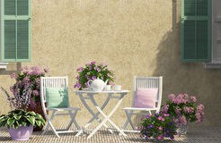 Beautiful terrace. With white furniture Royalty Free Stock Photography
