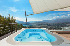Beautiful terrace with jacuzzi Stock Photo