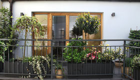 Beautiful terrace with a lot of flowers Royalty Free Stock Photography