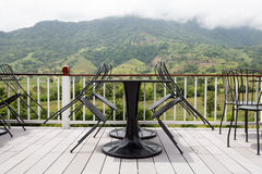 Beautiful terrace lounge with mountain view Stock Photography
