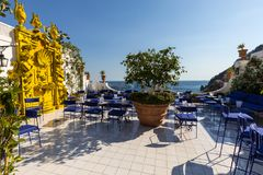A beautiful terrace overlooking the coastal town of Positano on Amalfi Coast.  Italy Royalty Free Stock Images