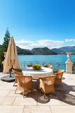 Beautiful terrace overlooking the lake Royalty Free Stock Images