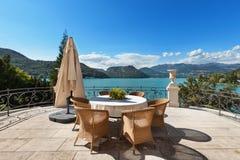 Beautiful terrace overlooking the lake Royalty Free Stock Photo