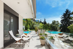 Beautiful terrace  with pool Royalty Free Stock Images