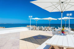 Beautiful terrace with sea view. Malia beach, Crete island, Greece Royalty Free Stock Photography