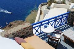 Beautiful terrace with sea view on Santorini island, Oia, Greece Royalty Free Stock Photos