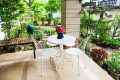 Beautiful terrace. With white furniture royalty free stock photo