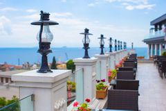 Beautiful terrace with wonderful view of the old Royalty Free Stock Image