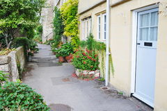 Beautiful Terraced Houses. View of a Leafy Walkway and Beautiful Old English Terraced Houses Stock Photography