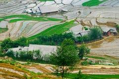 Beautiful terraced rice field in Lao cai province in Vietnam. Beautiful terraced rice field in water pulling season Lao cai province in Vietnam Royalty Free Stock Photos