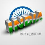 Beautiful text with Ashoka Wheel for Indian Republic Day celebra Stock Photo