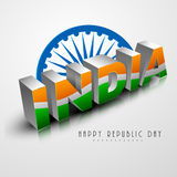 Beautiful text with Ashoka Wheel for Republic Day. Indian Republic Day celebration with 3D India text painted by national tricolor with Ashoka Wheel on shiny Stock Photo