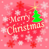 Beautiful text design of Merry Christmas. On red color background. vector illustration Stock Photos
