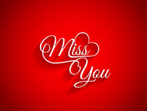 Beautiful text design of Miss You on red color bac Stock Image