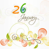 Beautiful text with floral design for Indian Republic Day celebration. Royalty Free Stock Image