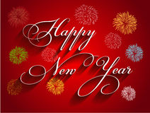 Beautiful text Happy New Year 2016 with fireworks Stock Image