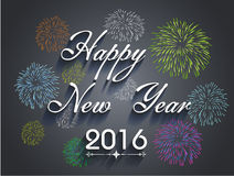 Beautiful text Happy New Year 2016 with fireworks Royalty Free Stock Photos