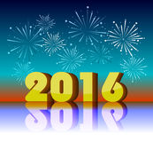 Beautiful text Happy New Year 2016 with fireworks Royalty Free Stock Image
