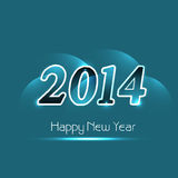 Beautiful text happy new year 2014 shiny blue back Royalty Free Stock Photography