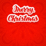 Beautiful text, lettering Merry Christmas on red color background. Greeting card vector Stock Photo