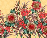 Beautiful textile print design with flowers. Textile print design vector illustration