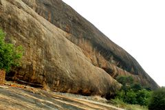 Beautiful texture hill of sittanavasal cave temple complex. Sittanavasal is a small hamlet in Pudukkottai district of Tamil Nadu, India. It is known for the Stock Photo