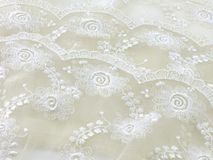 Texture sack sacking fabric and white lace background. Beautiful texture sack sacking fabric and white lace background stock images