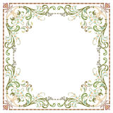 Beautiful textured border frame. With plant leaves decoration Royalty Free Stock Photo