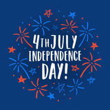 Beautiful 4th of July decorative card. Sketchy firework and lettering. Vector illustration Stock Photography