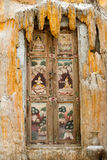 Beautiful thai art painting on the old door of Thai temple Stock Images