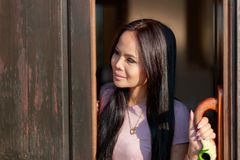 Beautiful thai asian woman happy smiling open the door in the morning stock photos