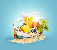 Beautiful Thai boat with suitcase. Passport and camera inside on sand. Unusual 3d illustration. Travel and vacation concept Stock Images
