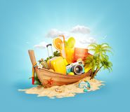 Beautiful Thai boat with suitcase. Passport and camera inside on sand. Unusual 3d illustration. Travel and vacation concept Stock Photos