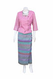 Beautiful Thai dresses on mannequins. Stock Photo