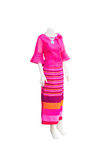 Beautiful Thai dresses on mannequins. Royalty Free Stock Image