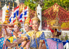 The beautiful Thai folk dancer perform Thai Classical Dance Royalty Free Stock Photos
