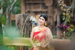 Beautiful Thai girl in Thai costume - wearing bride dress royalty free stock photo