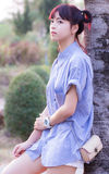 Beautiful thai girl portrait vacant Royalty Free Stock Image