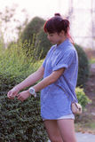 Beautiful thai girl portrait vacant Stock Photo