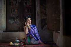 Beautiful Thai girl in Thai traditional costume Stock Images
