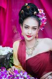 Beautiful Thai girl in traditional dress costume in Choeng Tha a. S Thai temple where is the public place, Thai Woman in Traditional Costume of Thailand stock photos
