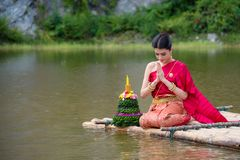 Beautiful Thai Girl Wearing Red Thai Traditional Dress In Loy Krathong Festival Stock Photos
