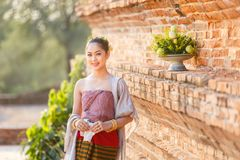 Beautiful Thai girls in thai traditional costume at old temple, Ayutthaya royalty free stock photo