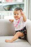 A Beautiful thai japan Baby smiling. At the camera stock photo