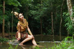 Beautiful Thai lady in Thai traditional drama dress Royalty Free Stock Images