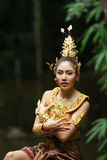 Beautiful Thai lady in Thai traditional drama dress Royalty Free Stock Photo