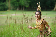 Beautiful Thai lady in Thai traditional drama dress Royalty Free Stock Image